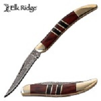 Damascus Etched Toothpick Folding Knife With Brown Pakkawood Handle
