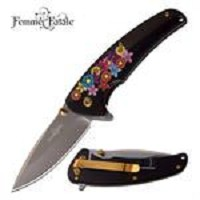 Femme Fatale Spring Assisted Knife Black Floral