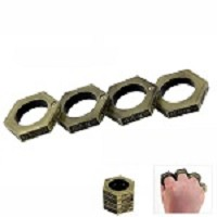 Hexagon Kung Fu Finger Magic Ring Self Defense Brass Knuckle Survival Tool