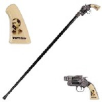 Wyatt Earp Revolver Gun Handle Gentleman's Walking Stick