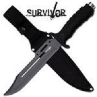 All Black Combat Survivor Hunter Knife W/ Sheath