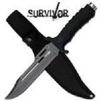 10 1/2 Inch Overall Black Rubber Grip Combat Knife With Sheath