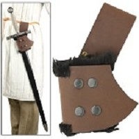 Fur Lined Leather Sword Frog Brown