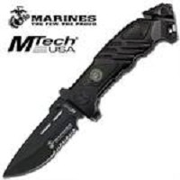 US Marines Tactical Rescue Assisted Opening Knife - Black Blade