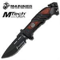 US Marines Tactical Rescue Assisted Opening Knife - Brown Pakkawood Handle