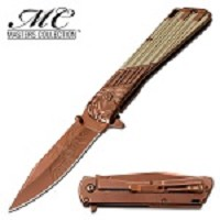 Masters Collection Aztec Spring Assisted Folding Pocket Knife Bronze