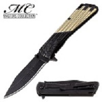 Masters Collection Aztec Spring Assisted Folding Pocket Knife Black