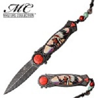 Native American Spring Assisted Folding Knife Red Stone
