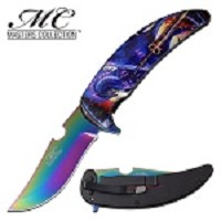 GOT Fire Dragon Spring Assisted Opening Pocket Knife Rainbow Blade