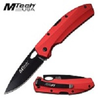 Mtech USA 7 Inch EDC Manual Pocket Knife Red Aluminum Handle