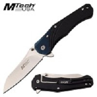 Mtech USA G10 Handle Manual Folding Pocket Knife Black Blue