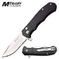 MTech USA Manual Folding Pocket Knife Black Anodized Aluminum Handle