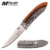 MTech Laser Etched Folding Pocket Knife Brown USA Flag
