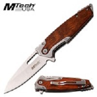 Mtech Steel Spring Assisted Pocket Knife With Brown Pakkawood Handle