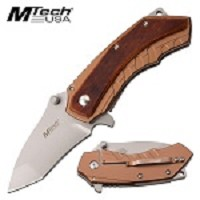 Mtech EDC Spring Assist Pocket Knife Brown Pakkawood Handle