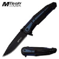 Mtech USA 8'' Assisted Opening Pocket Knife Blue Aluminum Handle