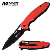 Mtech Spring Assist Pocket Knife Stonewashed Aluminum Handle Red