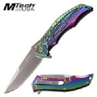 Mtech Knife Mechanical Gears Design Spring Assisted Knife Rainbow