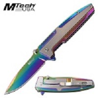 Mtech Knife Spring Assisted Opening Pocket Knife Steel Rainbow