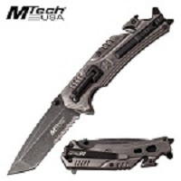 Tactical Pocket Knife Mtech Spring Assisted Knife Stonewash