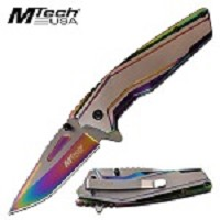 Mtech Spring Assisted Knife Rainbow Pocket Knife