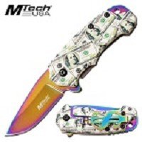 Mtech Pocket Knife Dollar Handle Spring Assisted Knife Rainbow