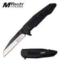 Mtech USA Folding Pocket Knife Black Blue With Ball Bearing Pivot
