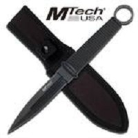 10 Inch MTech Double Edge Boot Knife - Rubber Handle