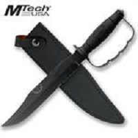 15 Inch Mtech Fixed Blade Knuckle Handle Bowie Knife Black
