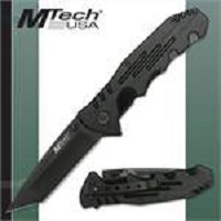 All Black M-Tech Folding Knife Tactical Brushed