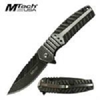 MTech Spring Assisted Folding Knife Stone Wash Satin Handle