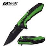 MTech USA Spring Assisted Knife In Green Black Handle Steel
