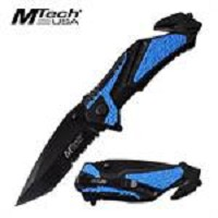 Mtech 8.25 Inch Overall Tactical Spring Assisted Folding Knife Blue Black