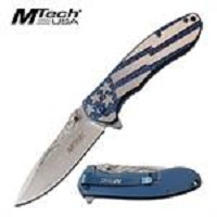 MTech USA American Flag Spring Assisted Folding Knife Blue