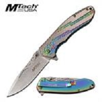 MTech USA American Flag Spring Assisted Folding Knife Rainbow