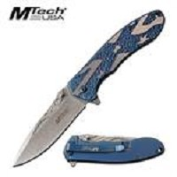 MTech USA Stars Flag Spring Assisted Folding Knife Blue