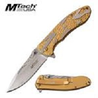 MTech USA Stars Flag Spring Assisted Folding Knife Gold