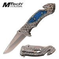 Mtech USA Tactical C-Tek Handle Spring Assist Knife Blue