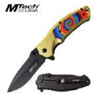 MTech USA Rainbow Handle Spring Assisted Folding Pocket Knife With Pocket Clip