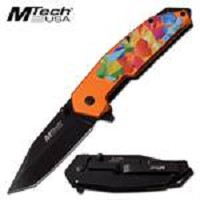 Mtech USA Vibrant Colorful Embossed Spring Assist Knife Orange