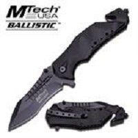 5 Inch Closed All Black Rescue Assisted Opening Pocket Folding Knife