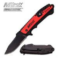 MTech USA Ballistic Spring Assisted Knife Black Red Aluminum Handle