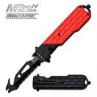 MTech USA Spring Assisted Knife 4.75 Inches With Red & Black Handle