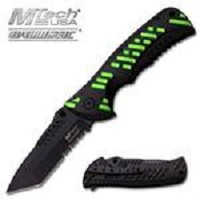 MTech USA Ballistic 4.75 Inch Closed Spring Assisted Knife Black Green Handle