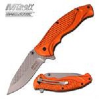 5 Inch Mtech Orange Handle Spring Assisted Knife