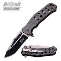 Grey Handle MTech Tactical Spring Assist Open Knife Two-Tone Blade