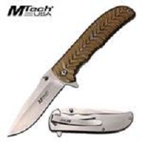 Mtech 4.5 Inch Closed Spring Assisted Knife Satin and Gold Handle