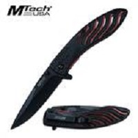 MTech Stars and Stripes Spring Assisted Folding Knife Black