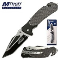 Mtech Pocket Knife Gray Tactical Handle Spring Assisted Knife in Clamshell