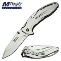Mtech Pocket Knife Stainless Steel Polished  Spring Assis Folder